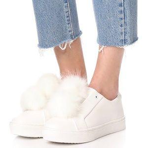 "Sam Edelman ""Leya"" Slip-on White Pom Pom Sneakers"